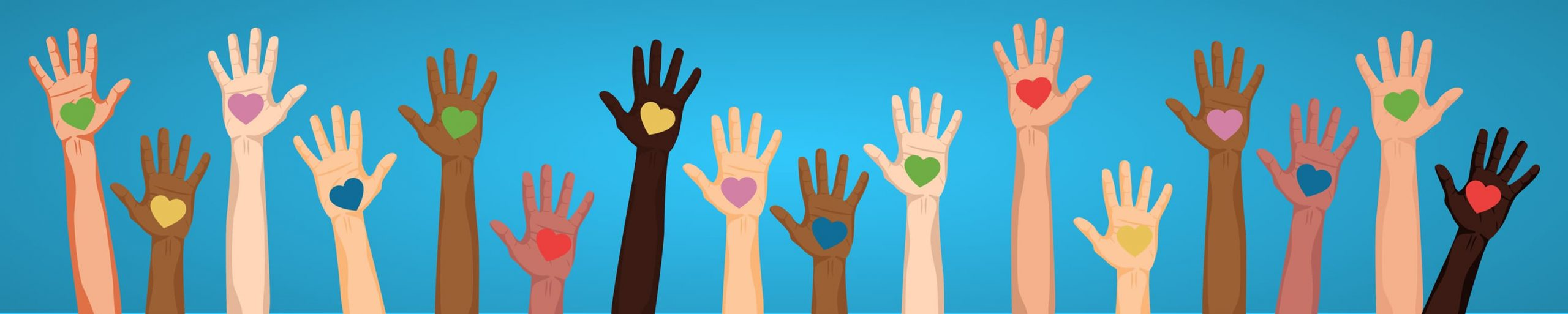 Illustration of many hands with hearts in the palms on a light blue background.