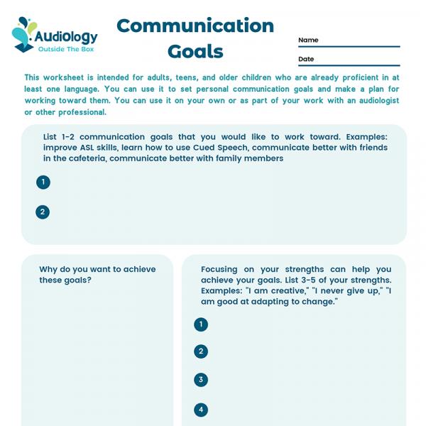 Communication Goals Worksheet