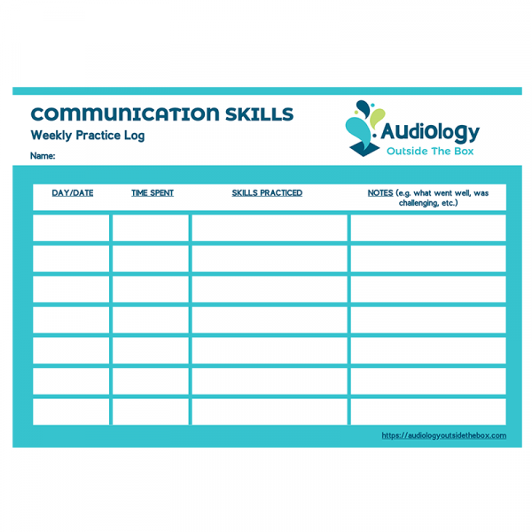 Communication Skills Weekly Practice Log