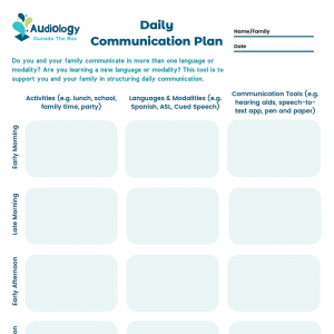 Daily Communication Plan (with times of day)