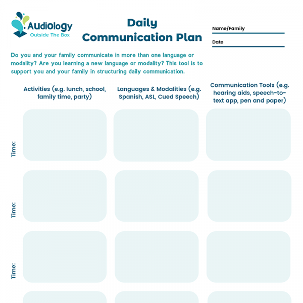 Daily Communication Plan (with blank times)