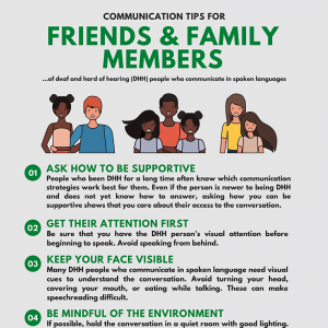 Communication Tips for Friends and Families of Deaf and Hard of Hearing People Who Communicate in Spoken Language