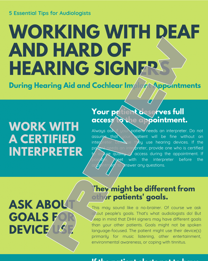 Working With Deaf and Hard of Hearing Signers During Hearing Aid and Cochlear Implant Appointments